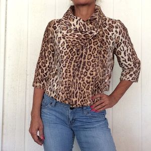 MODA INTERNATIONAL FAUX FUR LEOPARD CROP JACKET